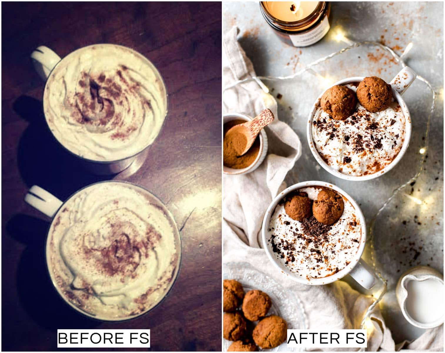 A collage of two images showing a before and after picture of a hot Christmas drink.