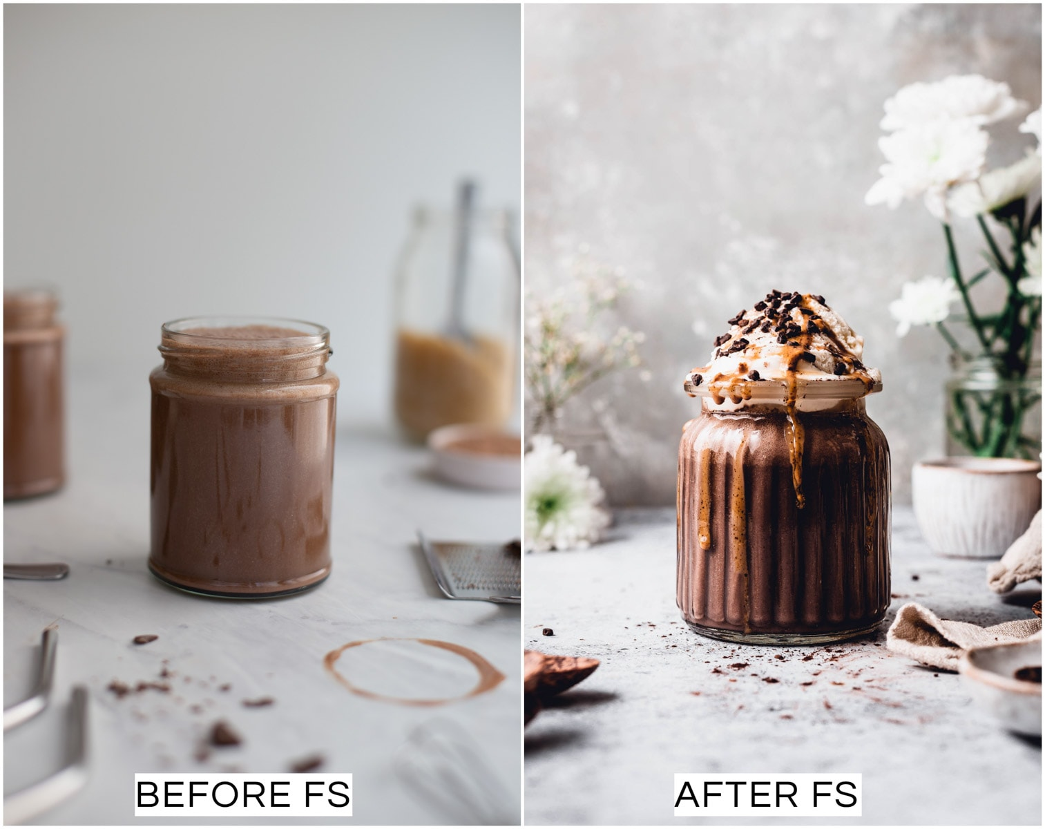 A collage of two images showing a before and after picture of a chocolate milkshake.