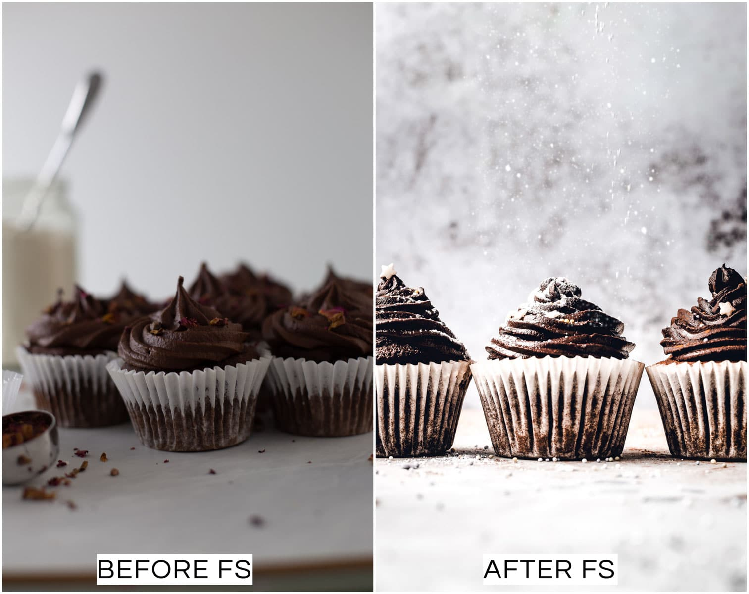 A collage of two images showing a before and after picture of chocolate cupcakes.