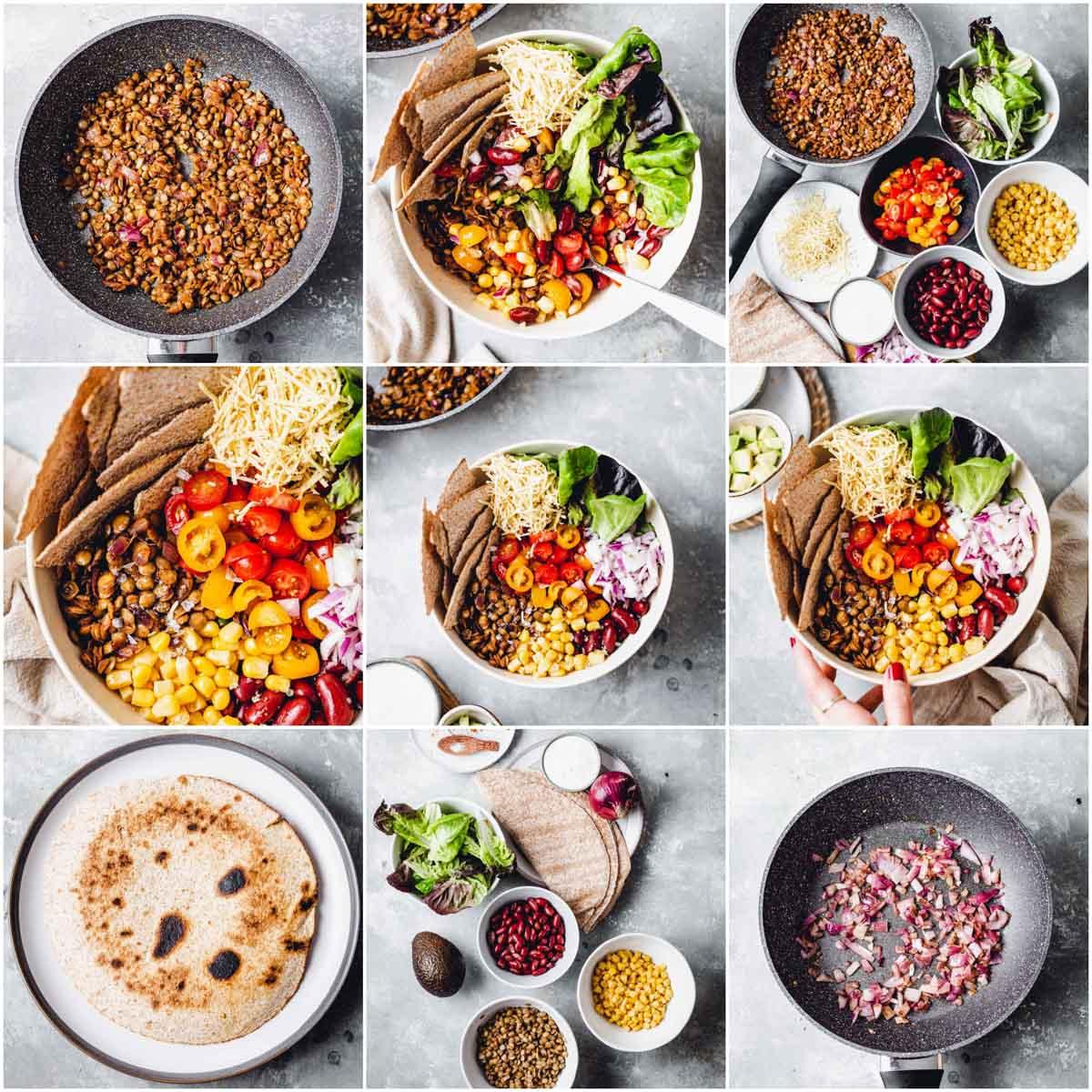 A collage of nine images showing vegan taco salad.