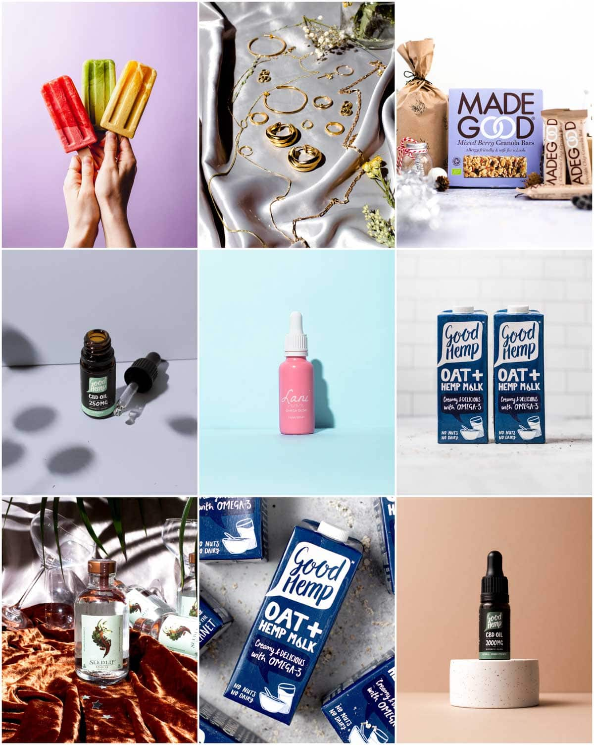 A collage of nine images showing different product photographs of items like milk cartons, bottles, jewellery and granola bars.