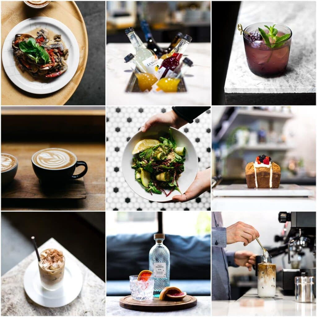 A collage of nine images showing nine shots of food and drinks from various cafes and restaurants.