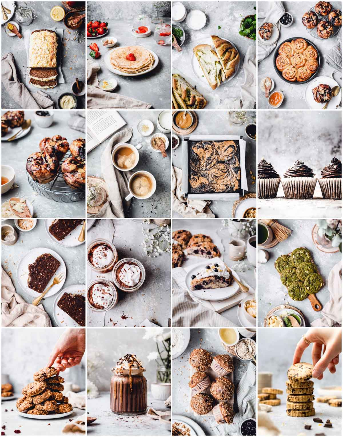A collage of 16 different food photography images showing various desserts and drinks.