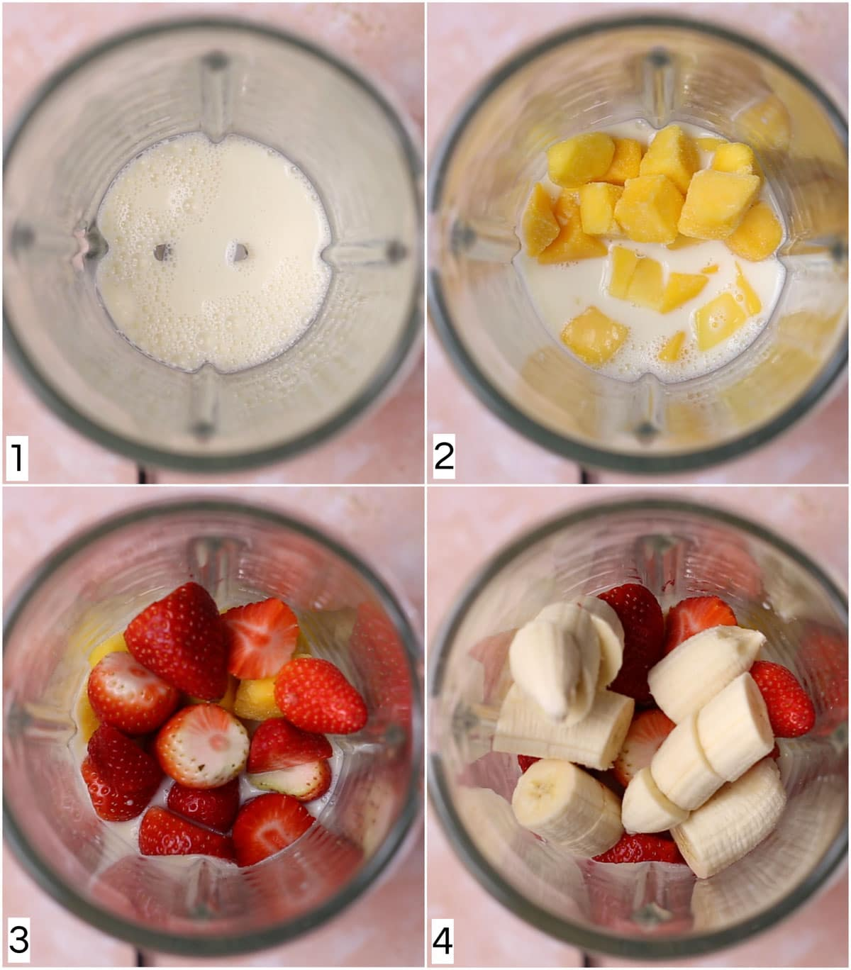 A collage of four images showing the steps in making an oat milk smoothie.
