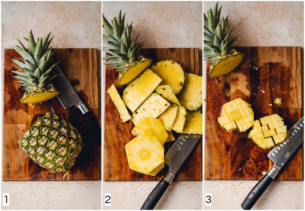 A collage of three images showing how to cut a pineapple.