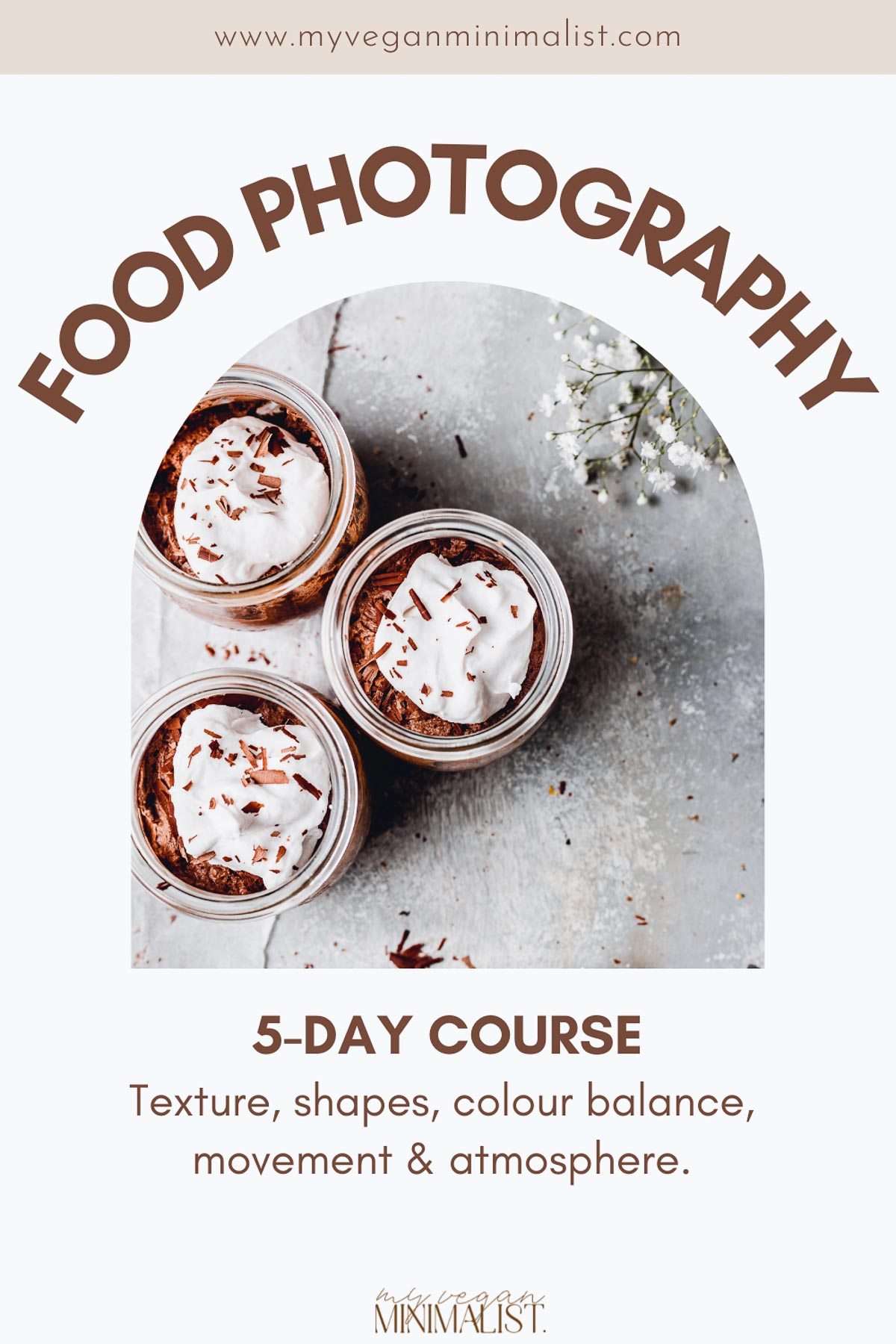 A photo of chocolate mousse with the title 'food photography' written in capitals on top.