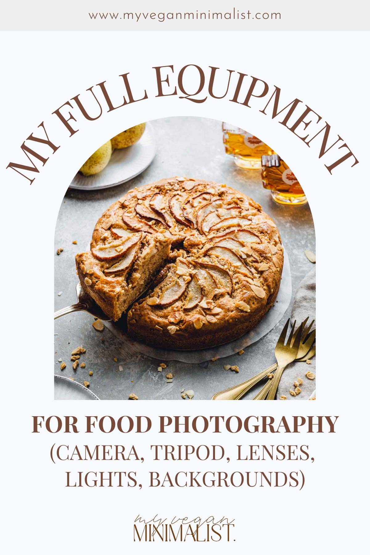 A graphic with a text 'My Full Food Photography Equipment' and a photo of pear cake in the middle.
