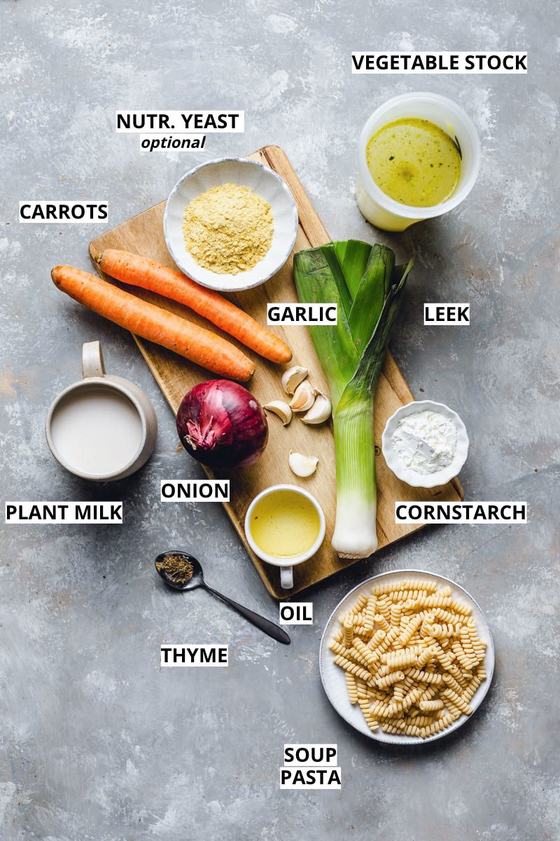 A list of all ingredients needed to make vegan chicken soup placed on a chopping board.