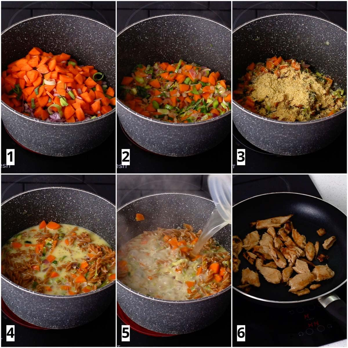 A collage of six images showing soup being cooked from start to end.
