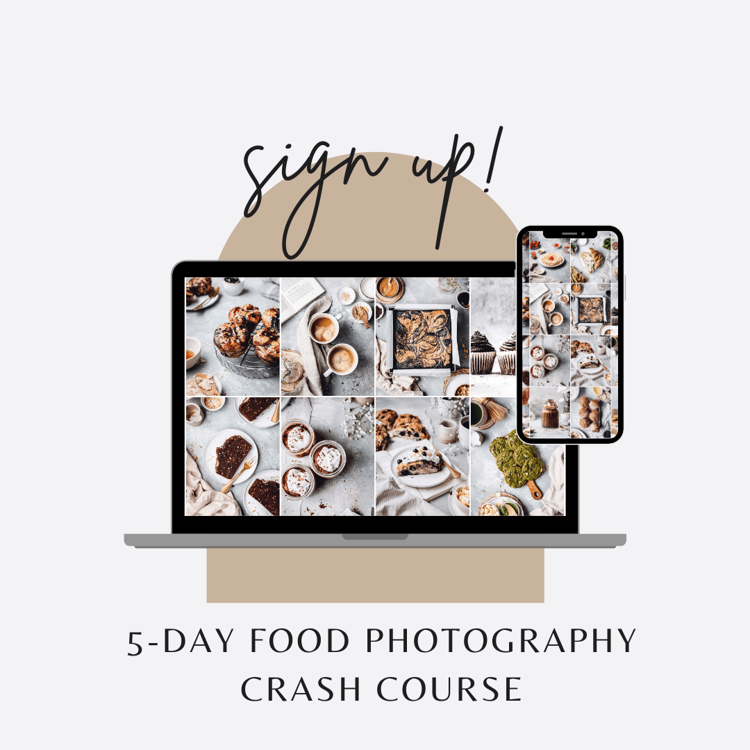 A graphic featuring Macbook and iPhone screens with various food photography images.