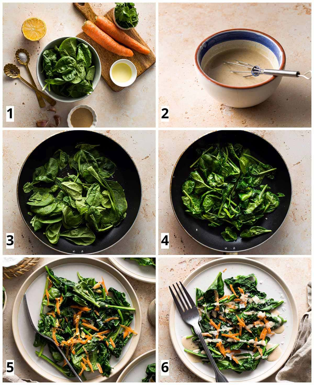 A collage of 6 images showing how spinach salad in constructed from start to finish.