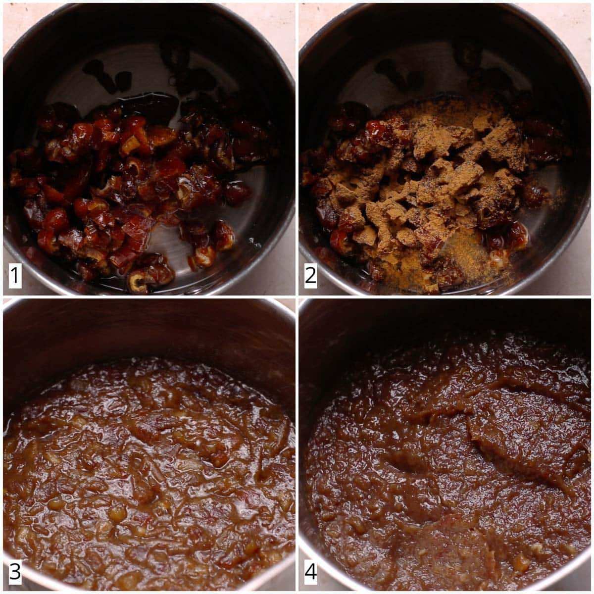 A collage of four images showing a cooking pan featuring date filling.