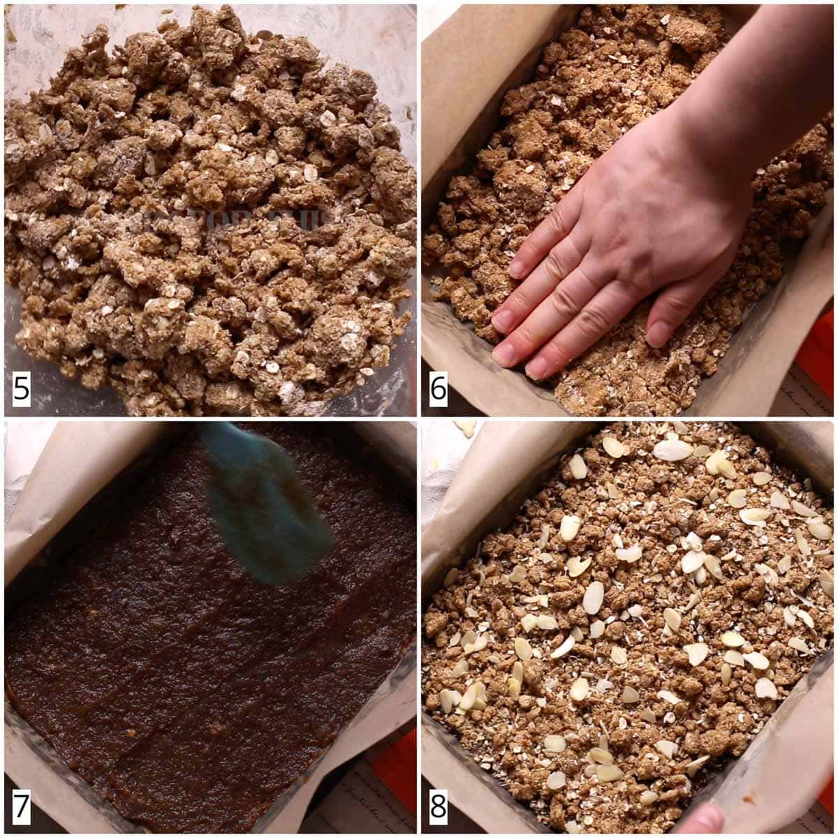 A collage of four images showing how to assemble a date crumble.