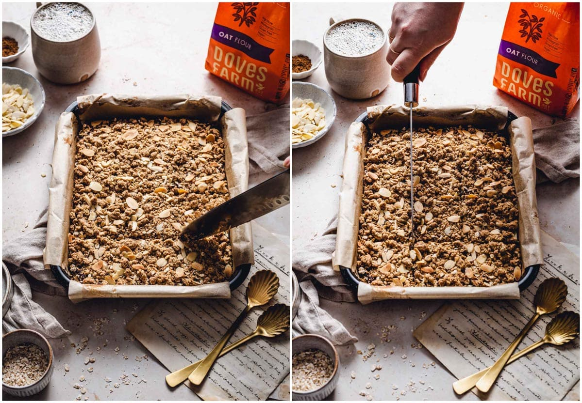 A collage of two images showing to slice a vegan date crumble.