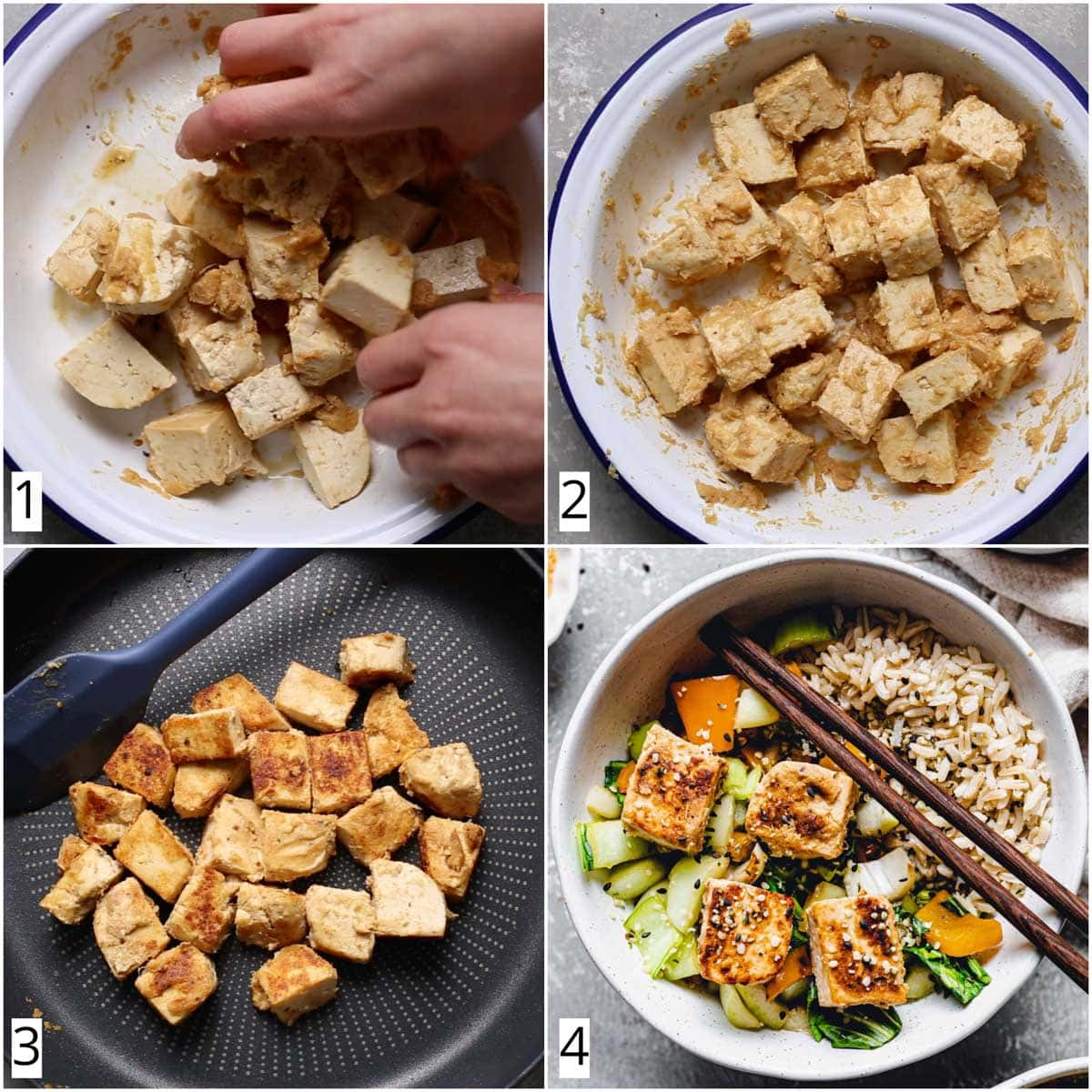 A collage of four images showing four steps in making miso marinated tofu cubes.