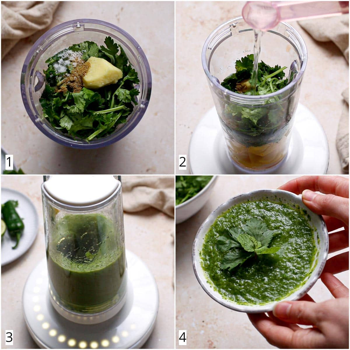 A collage of four images showing the steps in making green mint mango relish.