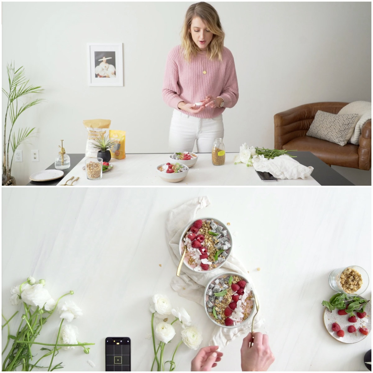 A collage of two images showing food styling of a smoothie bowl.