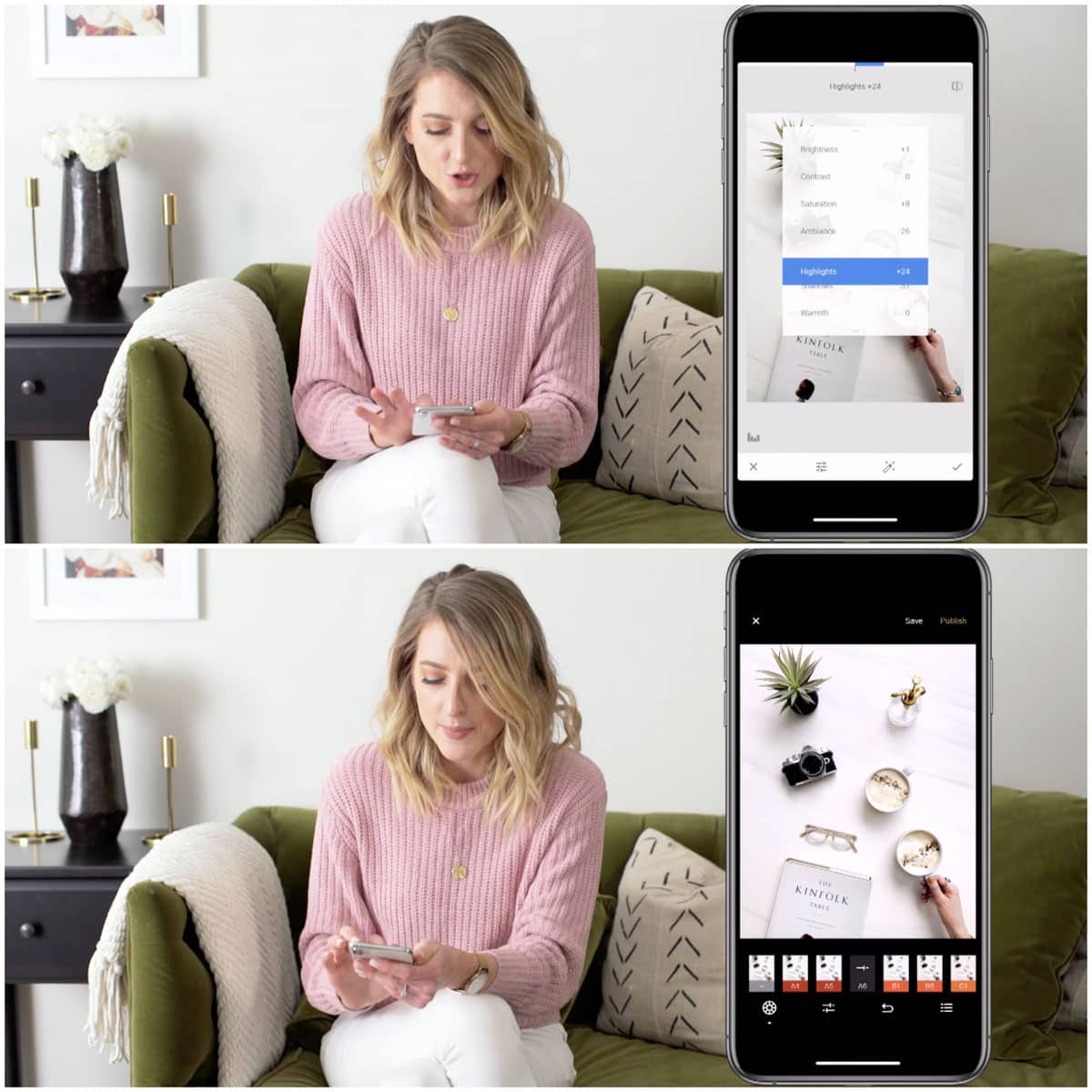 A collage of two images showing a woman using her phone to edit images.