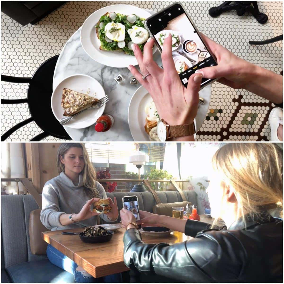 A collage of two images showing shooting food photography in restaurants.