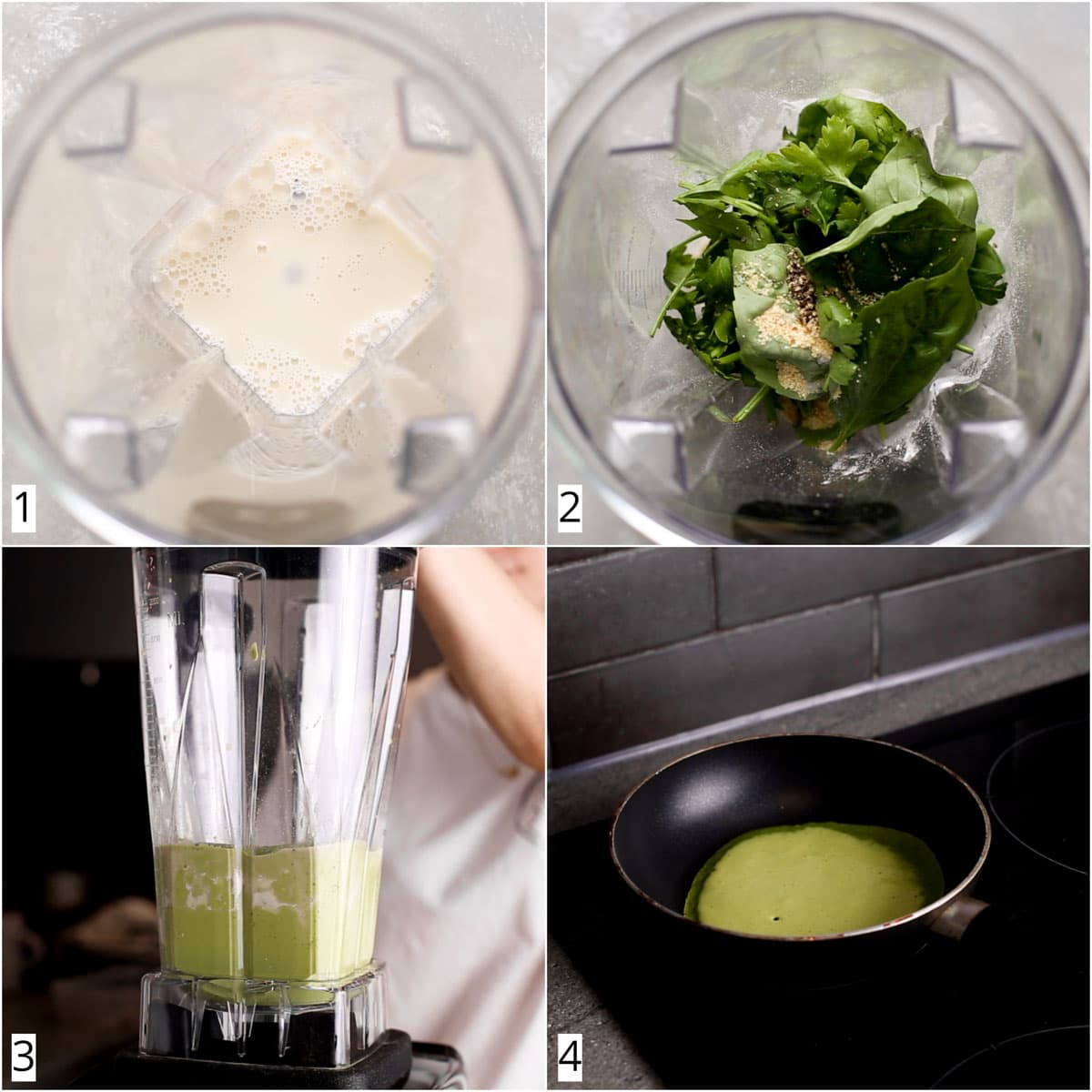A collage of four images showing the four steps in making green crepes.