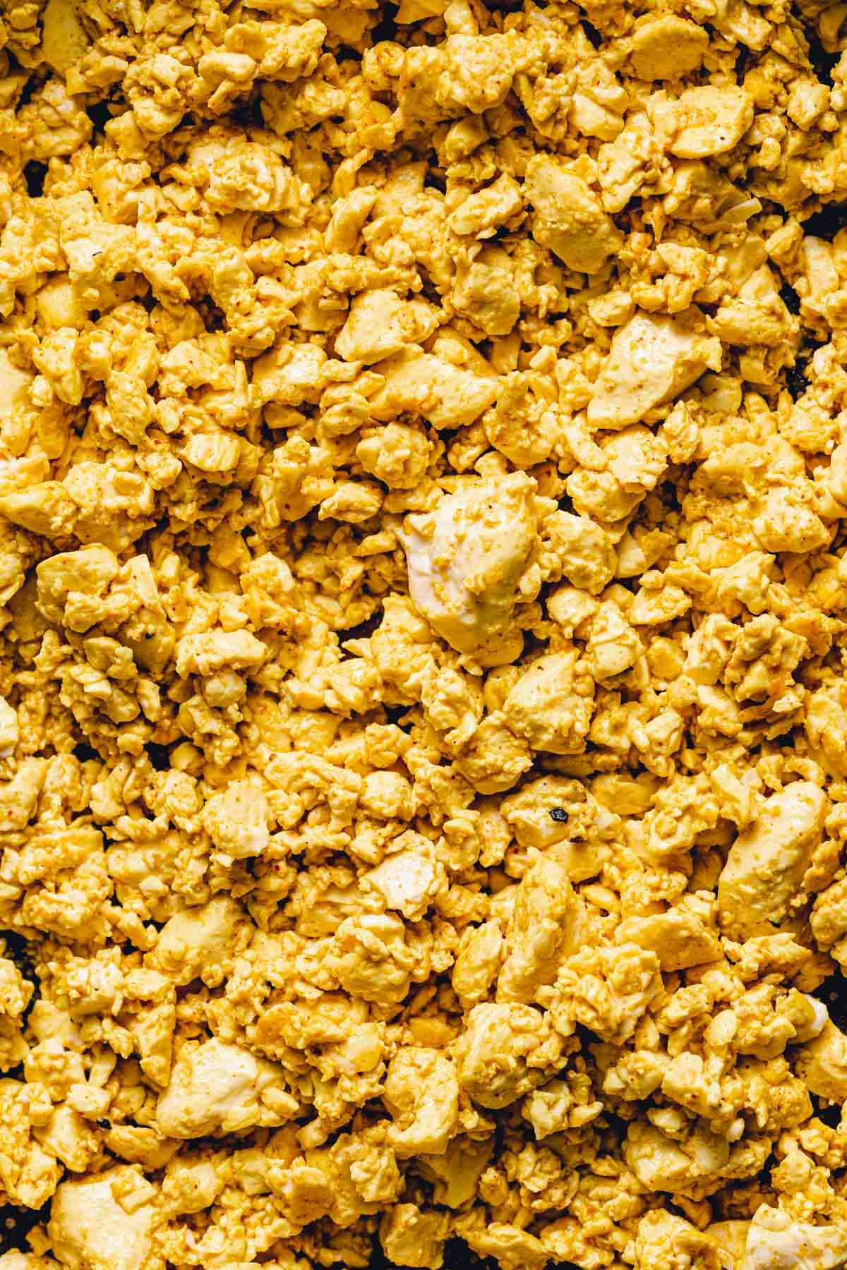 A close-up image of silken scrambled tofu.