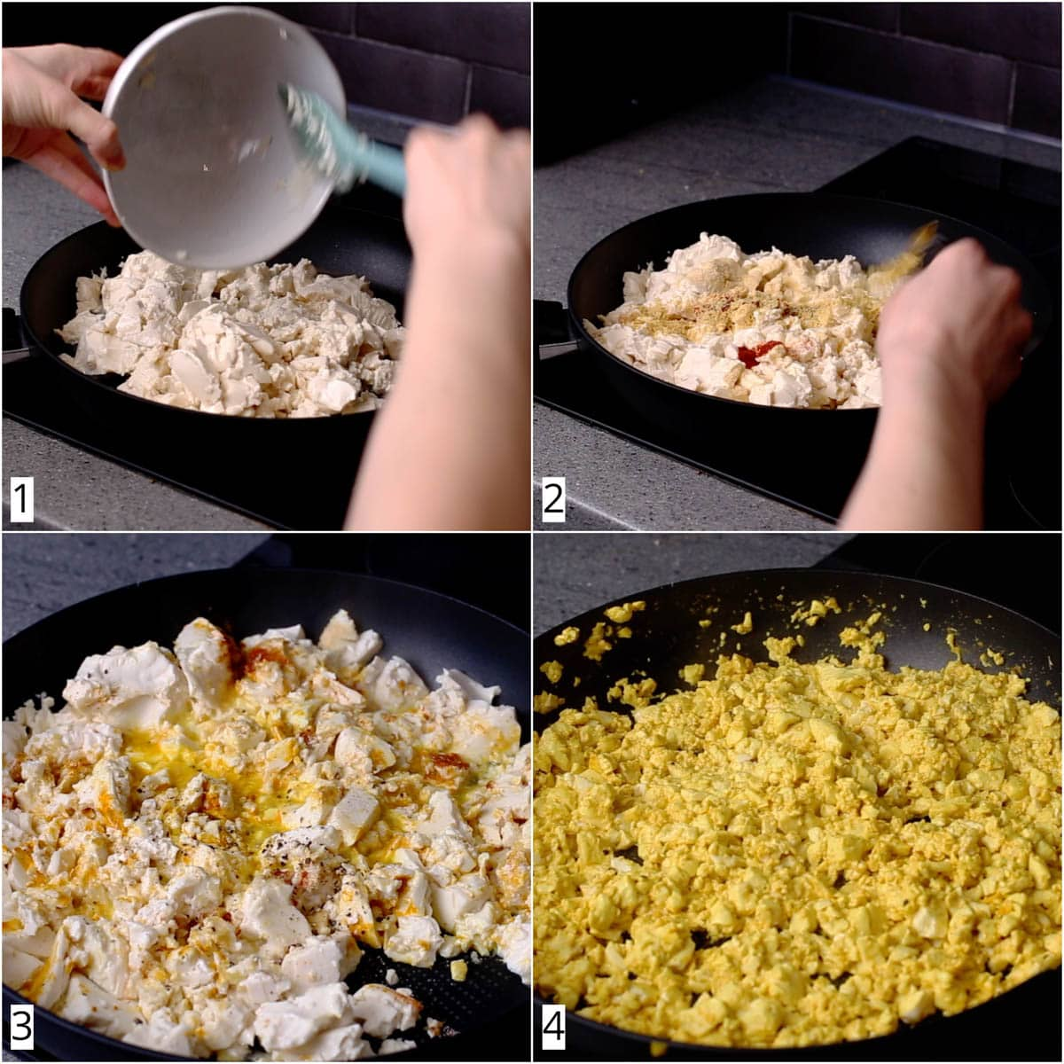 A collage of four images showing how to make scrambled tofu.