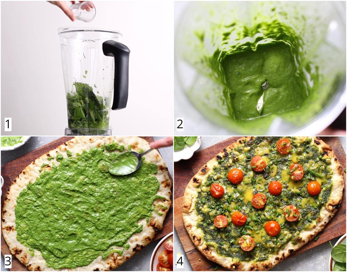 A collage of four images showing four steps in making green pizza sauce.